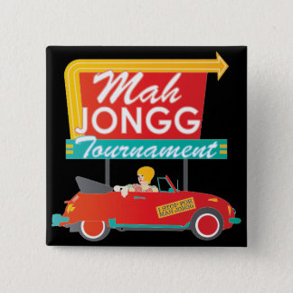 I Stop for Mah Jongg Retro Sign Pinback Button