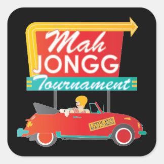 I Stop for Mah Jongg Retro Sign Square Sticker