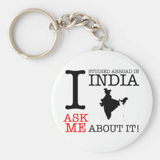 I Studied in India! Basic Round Button Keychain
