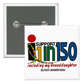 I Support 1 In 150 & My Granddaughter AUTISM Pins