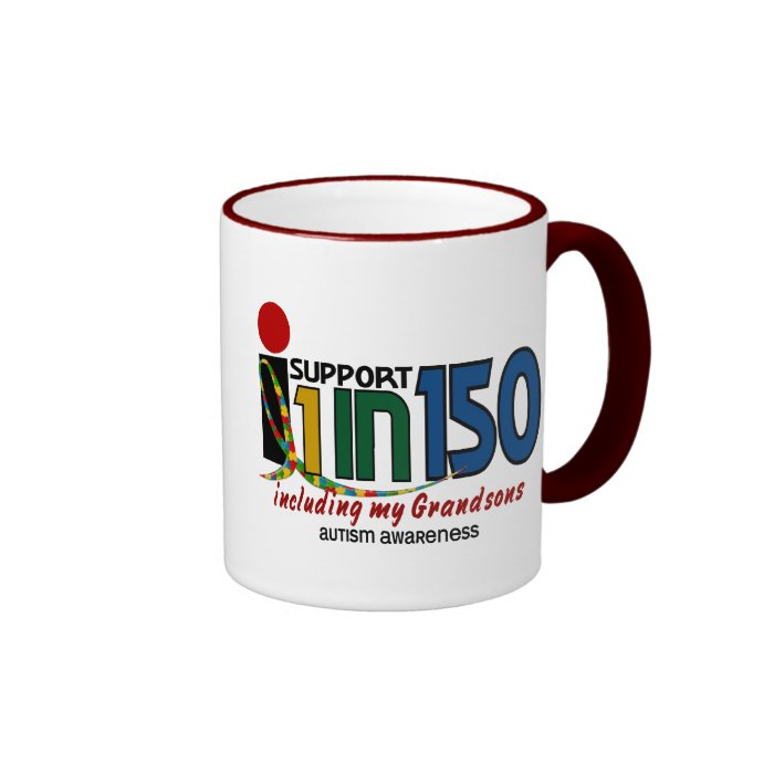 I Support 1 In 150 & My Grandsons AUTISM AWARENESS Mugs