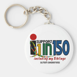 I Support 1 In 150 & My Siblings AUTISM AWARENESS Basic Round Button Keychain