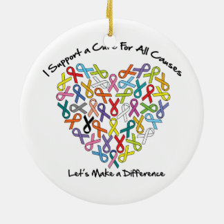 I Support a Cure Let's Make a Difference Ceramic Ornament