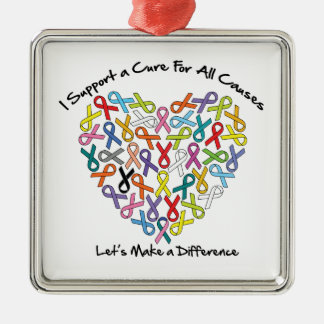 I Support a Cure Let's Make a Difference Metal Ornament