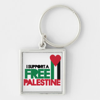 I support a free palestine Silver-Colored square keychain