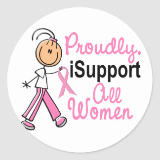 I Support All Women SFT Breast Cancer Gifts Round Sticker