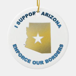 I Support Arizona Double-Sided Ceramic Round Christmas Ornament