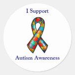 I Support Autism Awareness Classic Round Sticker