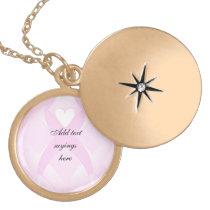 I Support,Breast Cancer Awareness_ Locket Necklace