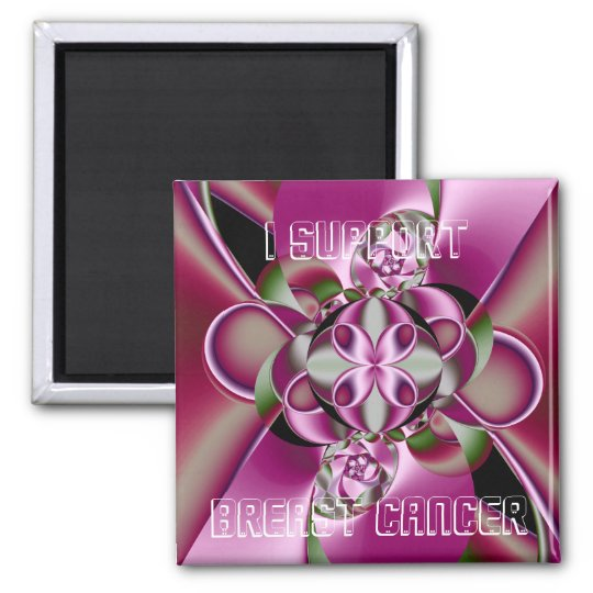 I Support Breast Cancer Square Magnet