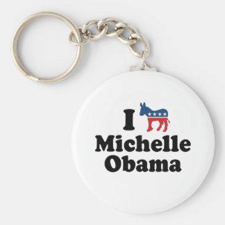 I SUPPORT DEMOCRAT MICHELLE OBAMA -.png Basic Round Button Keychain