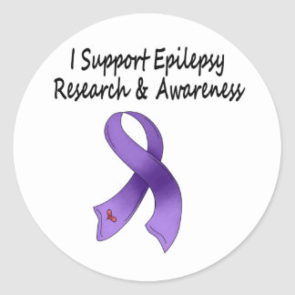 I SUPPORT Epilepsy Research Classic Round Sticker