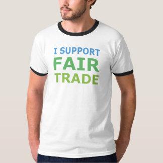 I Support Fair Trade Ringer T-Shirt, White/Black T Shirt