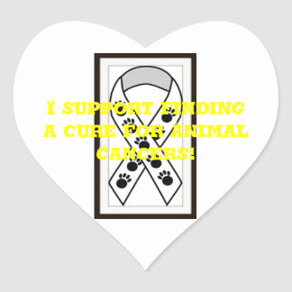 I support finding a cure for Animal Cancers! Heart Sticker
