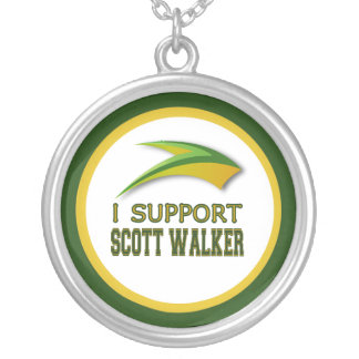 I Support Governor Scott Walker of Wisconsin Silver Plated Necklace