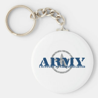 I Support Granddaughter - ARMY Basic Round Button Keychain
