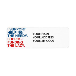 I SUPPORT HELPING THE NEEDY LABELS