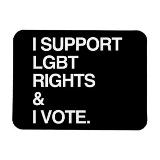 I SUPPORT LGBT RIGHTS AND I VOTE FLEXIBLE MAGNETS