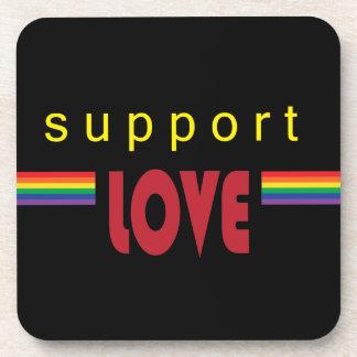 I support love rainbow black coaster