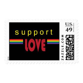 I support love rainbow black postage
