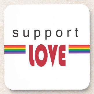 I support love rainbow white coaster