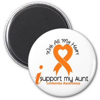 I Support My Aunt Leukemia 2 Inch Round Magnet