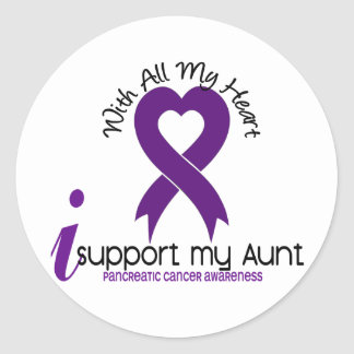 I Support My Aunt Pancreatic Cancer Round Stickers
