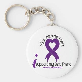 I Support My Best Friend Epilepsy Basic Round Button Keychain