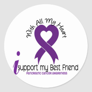 I Support My Best Friend Pancreatic Cancer Round Stickers