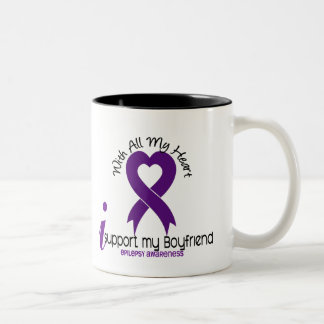 I Support My Boyfriend Epilepsy Two-Tone Coffee Mug