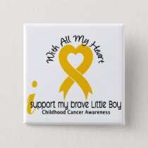 I Support My Brave Little Boy Childhood Cancer Button
