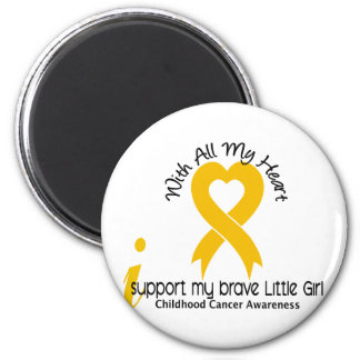 I Support My Brave Little Girl Childhood Cancer 2 Inch Round Magnet