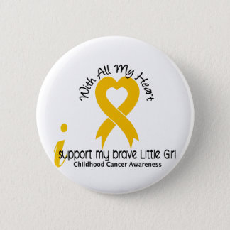 I Support My Brave Little Girl Childhood Cancer Pinback Button
