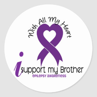 I Support My Brother Epilepsy Classic Round Sticker