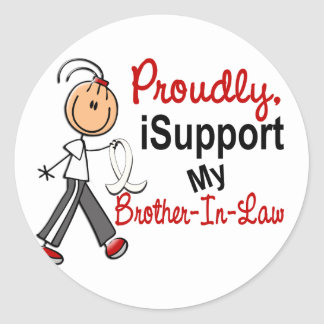 I Support My Brother-In-Law SFT Bone / Lung Cancer Round Stickers