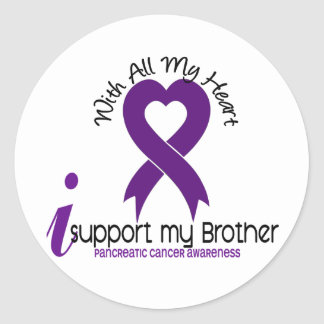 I Support My Brother Pancreatic Cancer Round Stickers