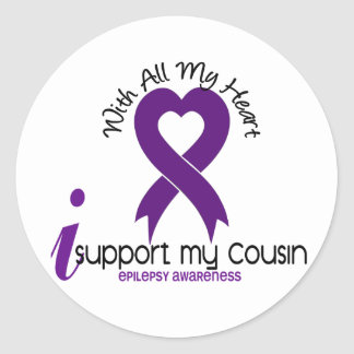 I Support My Cousin Epilepsy Classic Round Sticker