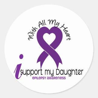 I Support My Daughter Epilepsy Classic Round Sticker