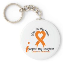 I Support My Daughter Leukemia Keychain