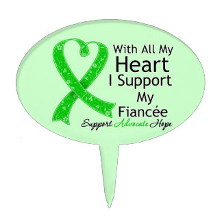 I Support My Fiancee With All My Heart Oval Cake Topper