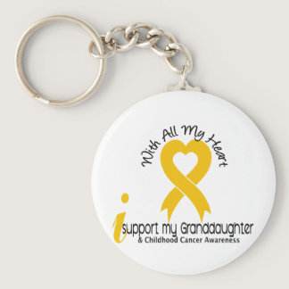 I Support My Granddaughter Childhood Cancer Keychain