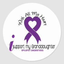 I Support My Granddaughter Epilepsy Classic Round Sticker