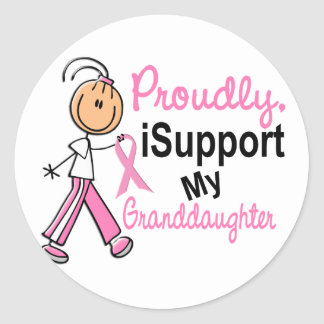 I Support My Granddaughter SFT Breast Cancer T-Shi Round Stickers