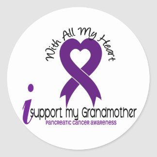 I Support My Grandmother Pancreatic Cancer Classic Round Sticker