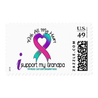 I Support My Grandpa Thyroid Cancer Postage Stamps
