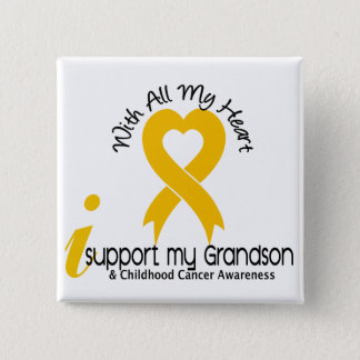 I Support My Grandson Childhood Cancer Pinback Button
