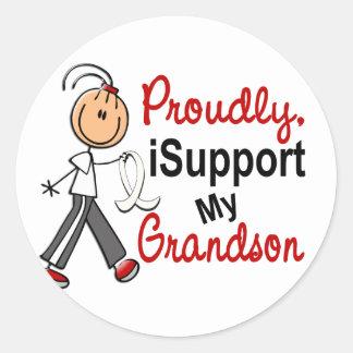 I Support My Grandson SFT (Bone / Lung Cancer) Round Stickers