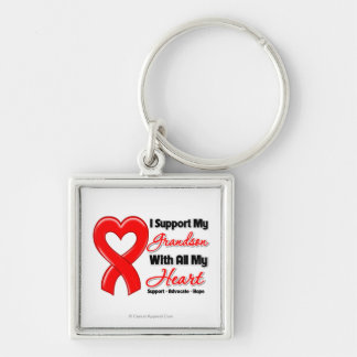 I Support My Grandson With All My Heart Silver-Colored Square Keychain