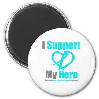 I Support My Hero Addiction Recovery 2 Inch Round Magnet
