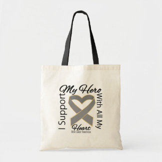 I Support My Hero - Brain Cancer Awareness Canvas Bags